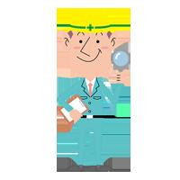 イラスト:ルーペとチェック表を持つ男性社員~工作機械・産業機械のメンテナンス・修理・改造・据付/山崎マシンテック株式会社
