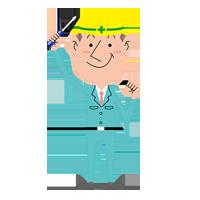 イラスト:工具を手に持った男性社員~工作機械・産業機械のメンテナンス・修理・改造・据付/山崎マシンテック株式会社